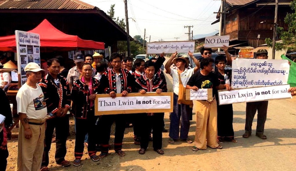 The Mong Ton dam protest held recently in Shan state.